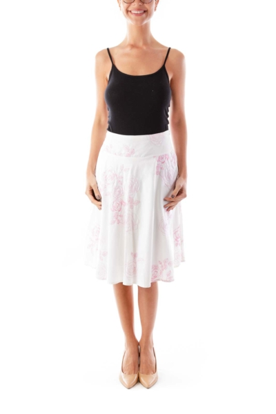 White & Pink Embroidered Floral Skirt