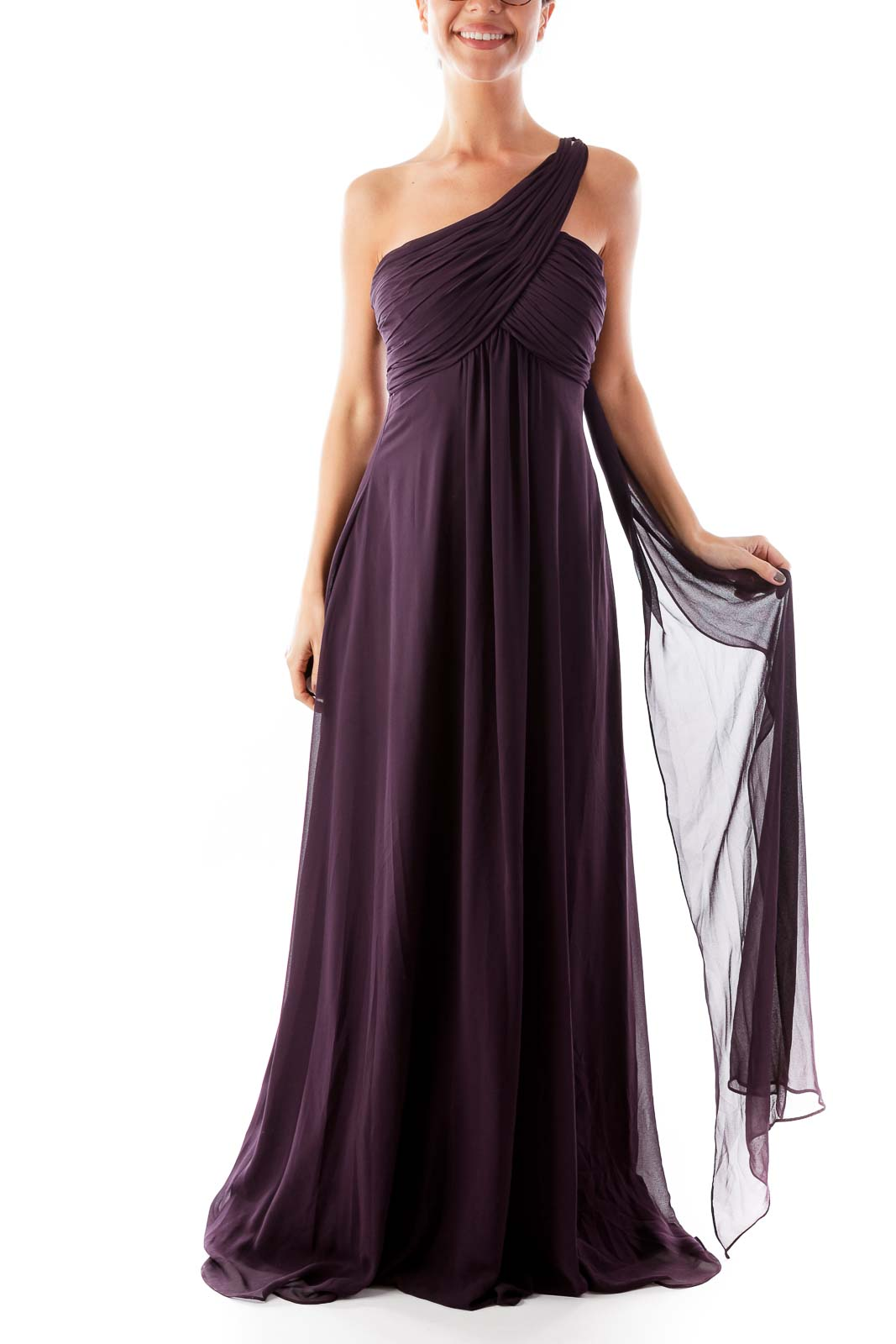Purple One Shoulder Gown