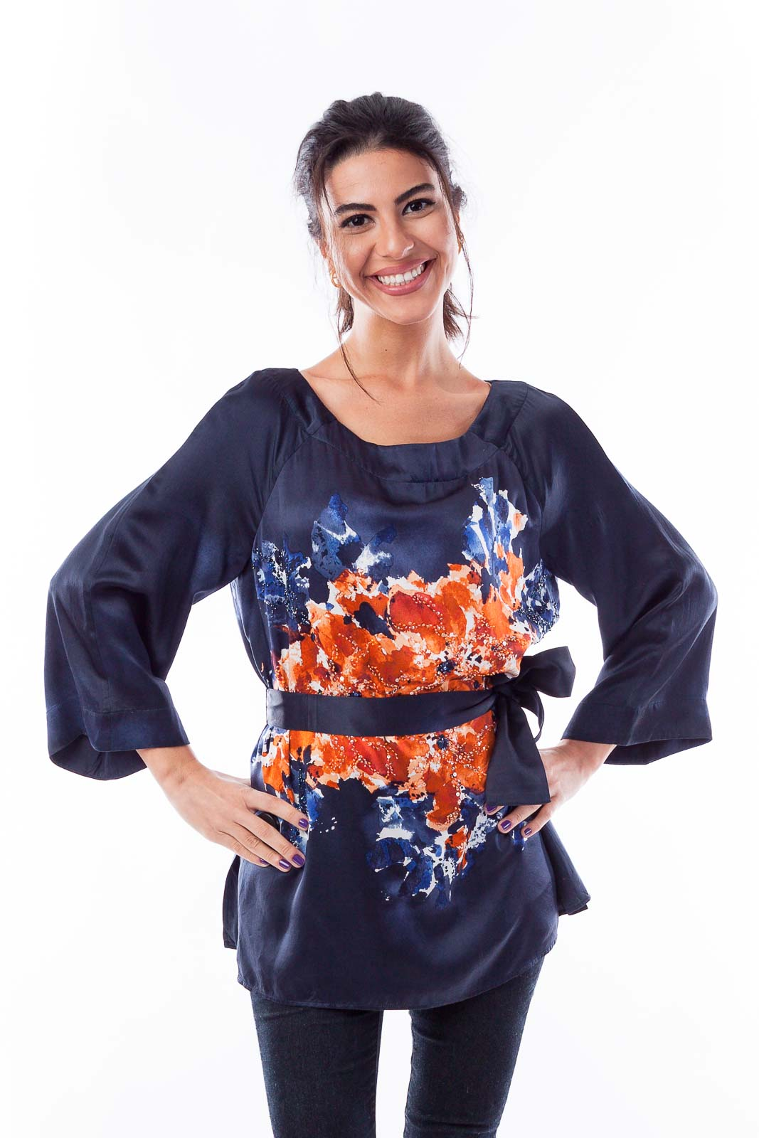 Dark Navy & Orange Florist Silk Top