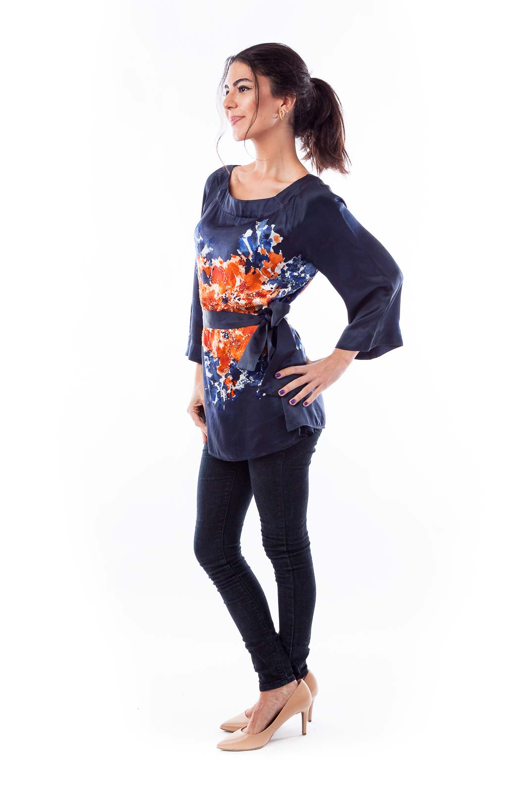 Dark Navy & Orange Florist Silk Top