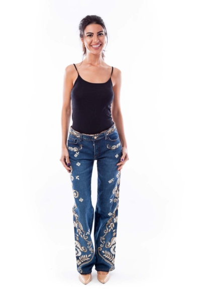 Gold and White Paisley Embroidered Jeans