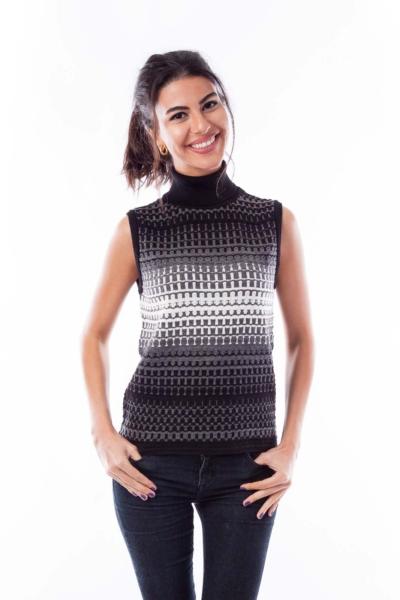 Gray and Black Knit Vest