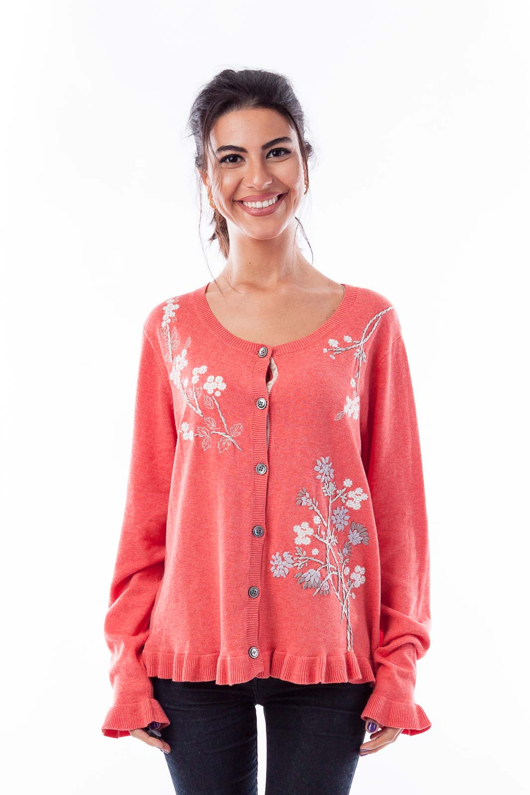 Coral Floral Embroidered Cardigan