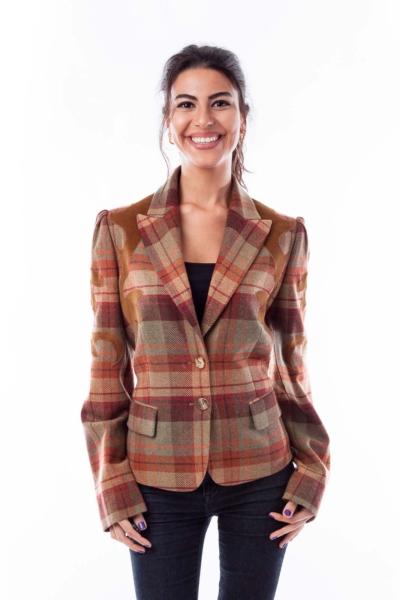Brown Plaid & Corduroy Detail Jacket