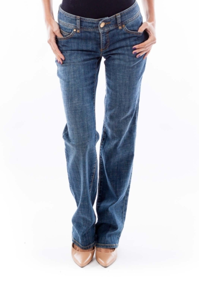 Gold Zipper Pocket Flare Jeans