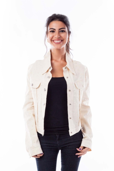 Cream Denim Embroidered Jacket