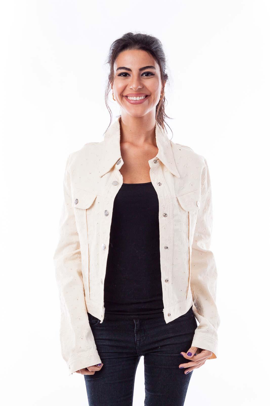 Cream Denim Embroidered Jacket