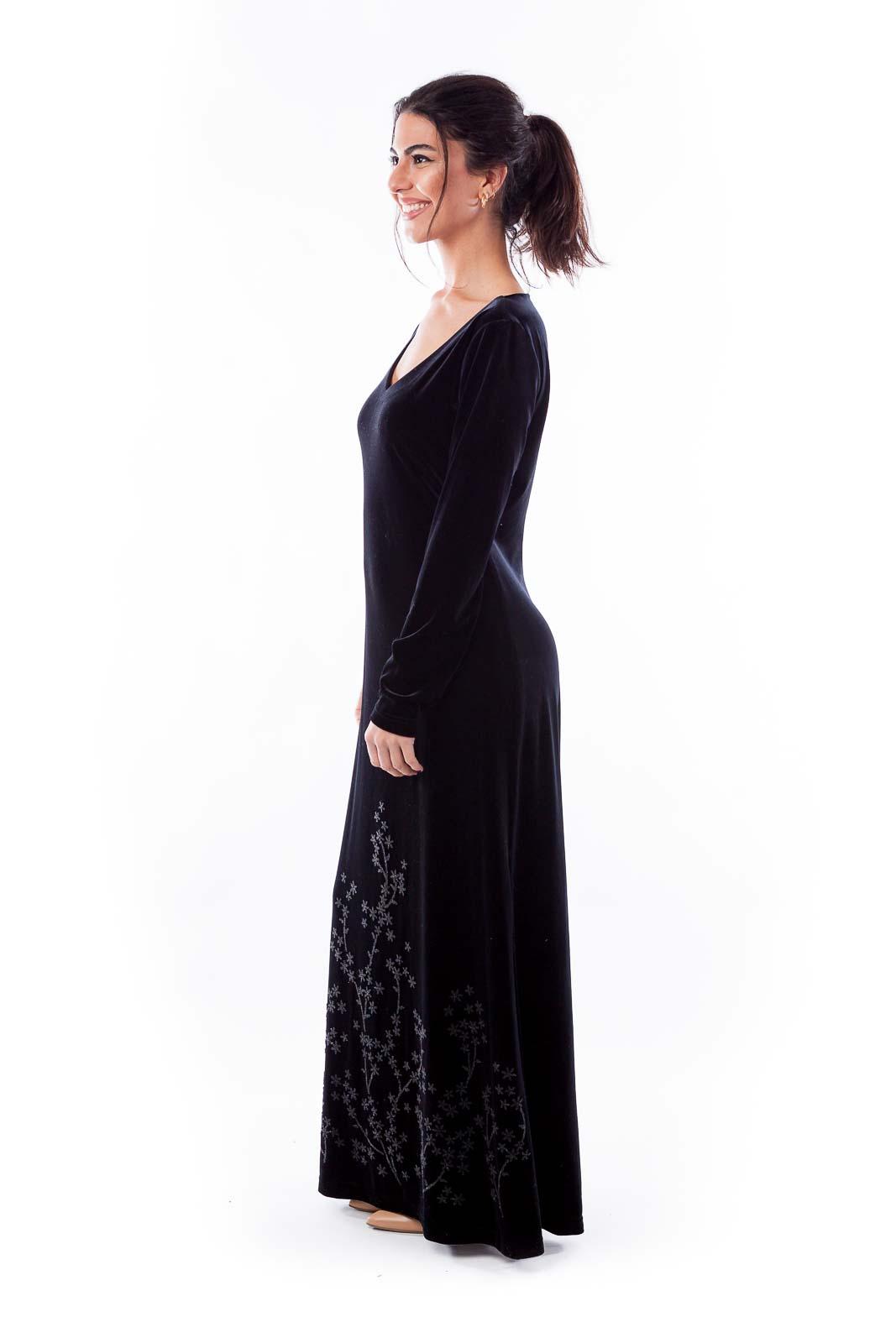 Black Velvet Beaded Dress