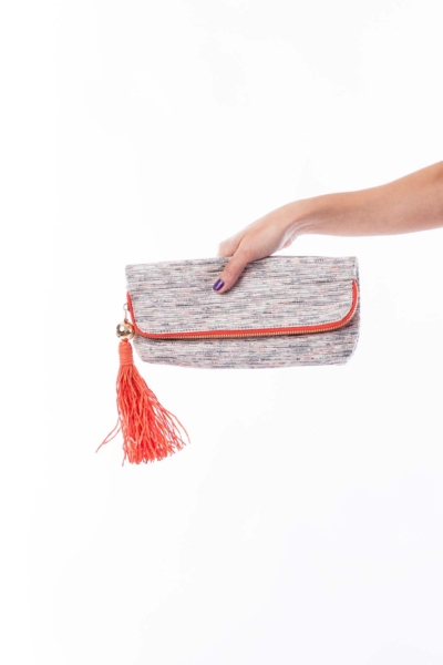 Silver and Orange Clutch
