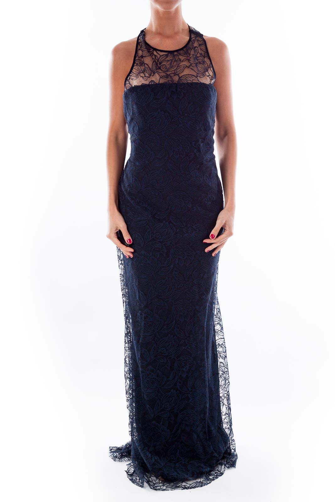 Navy Lace Evening Gown