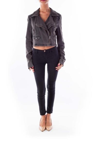 Black Denim Cropped Jacket