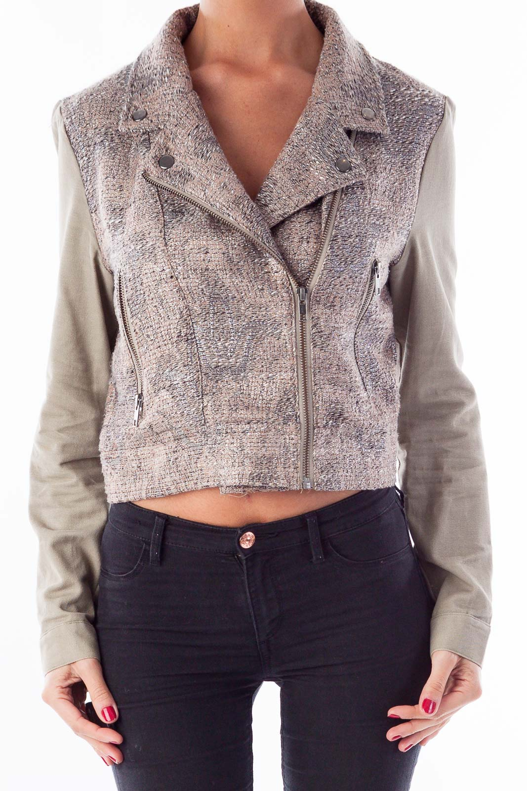 Taupe & Silver Crop Bomber Jacket