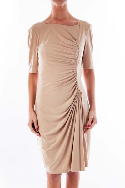 Beige Scrunchy Side Dress