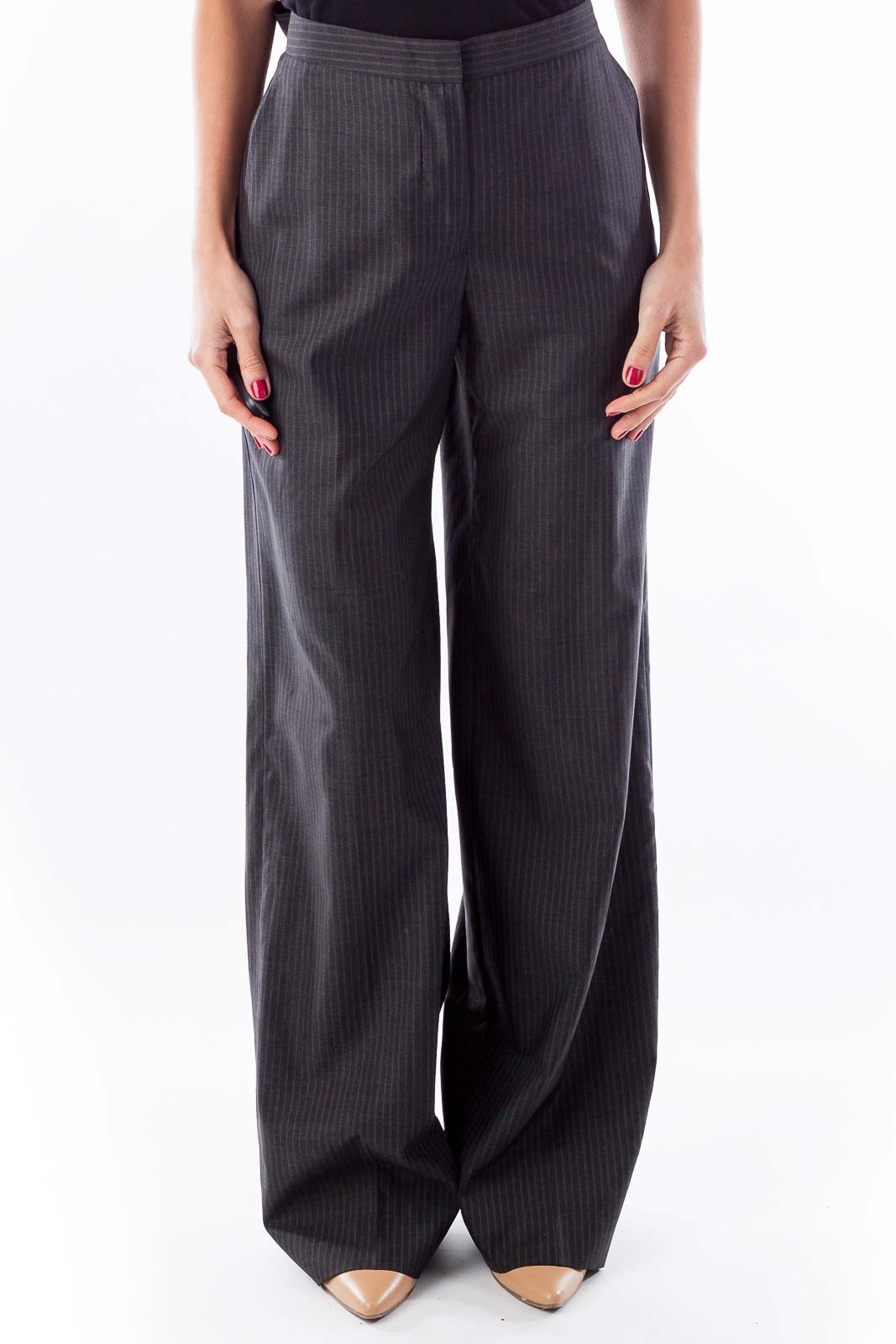 Gray Wide Leg Pinstripe Pants