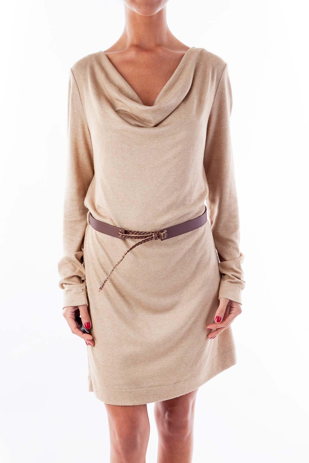 Beige Belted Knit Dress