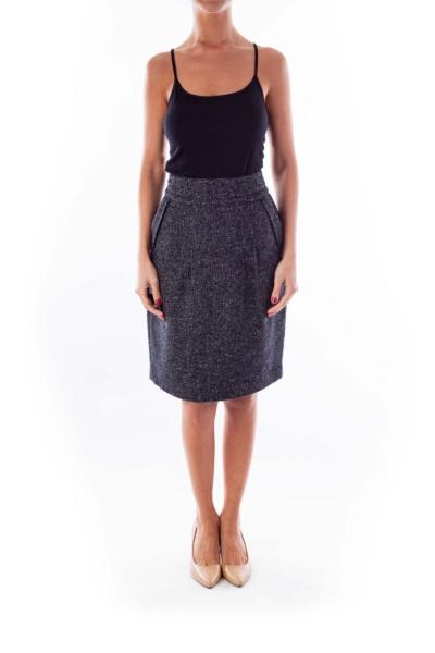 Black & White Tweed Pencil Skirt