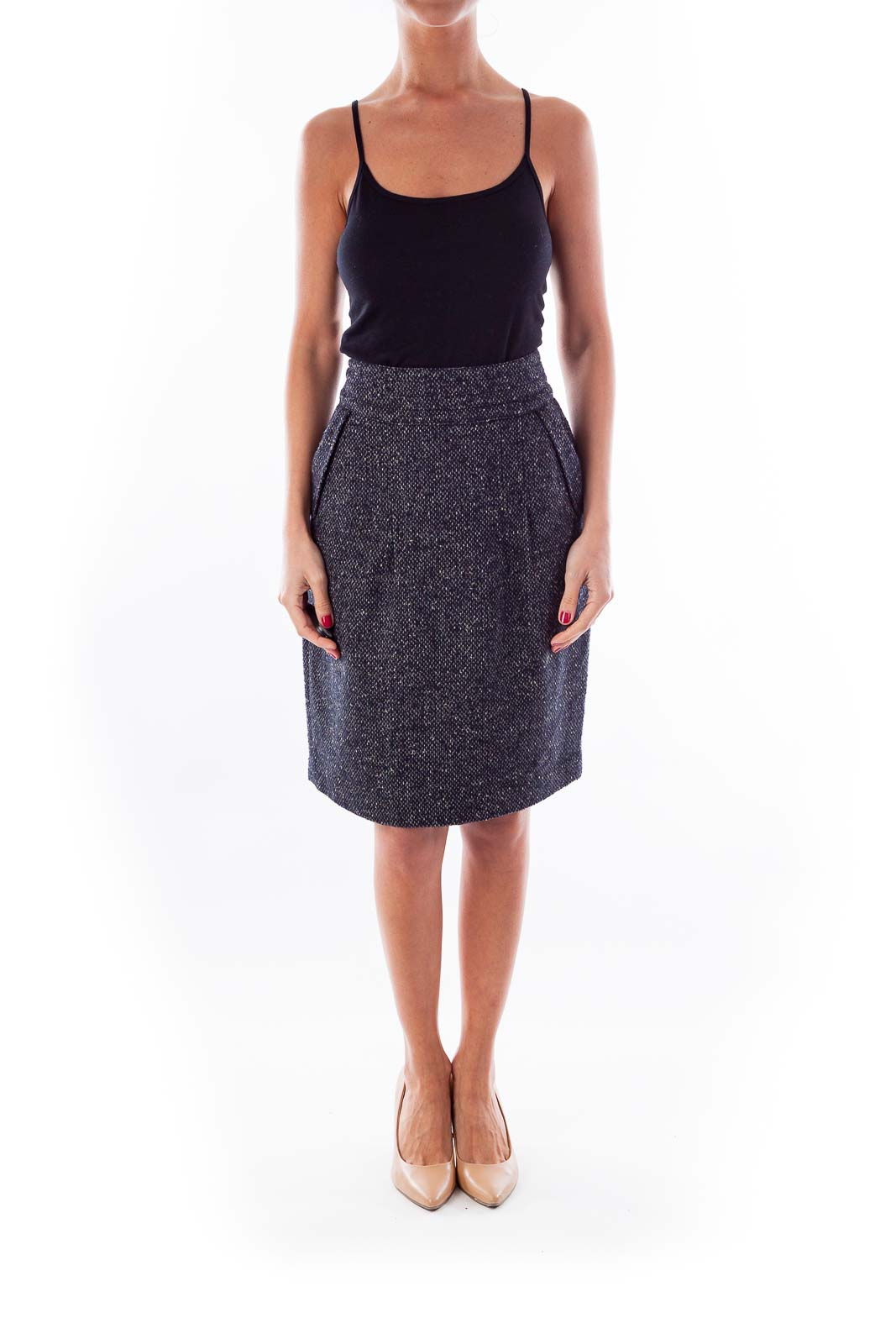 black white tweed pencil skirt 8 silkroll