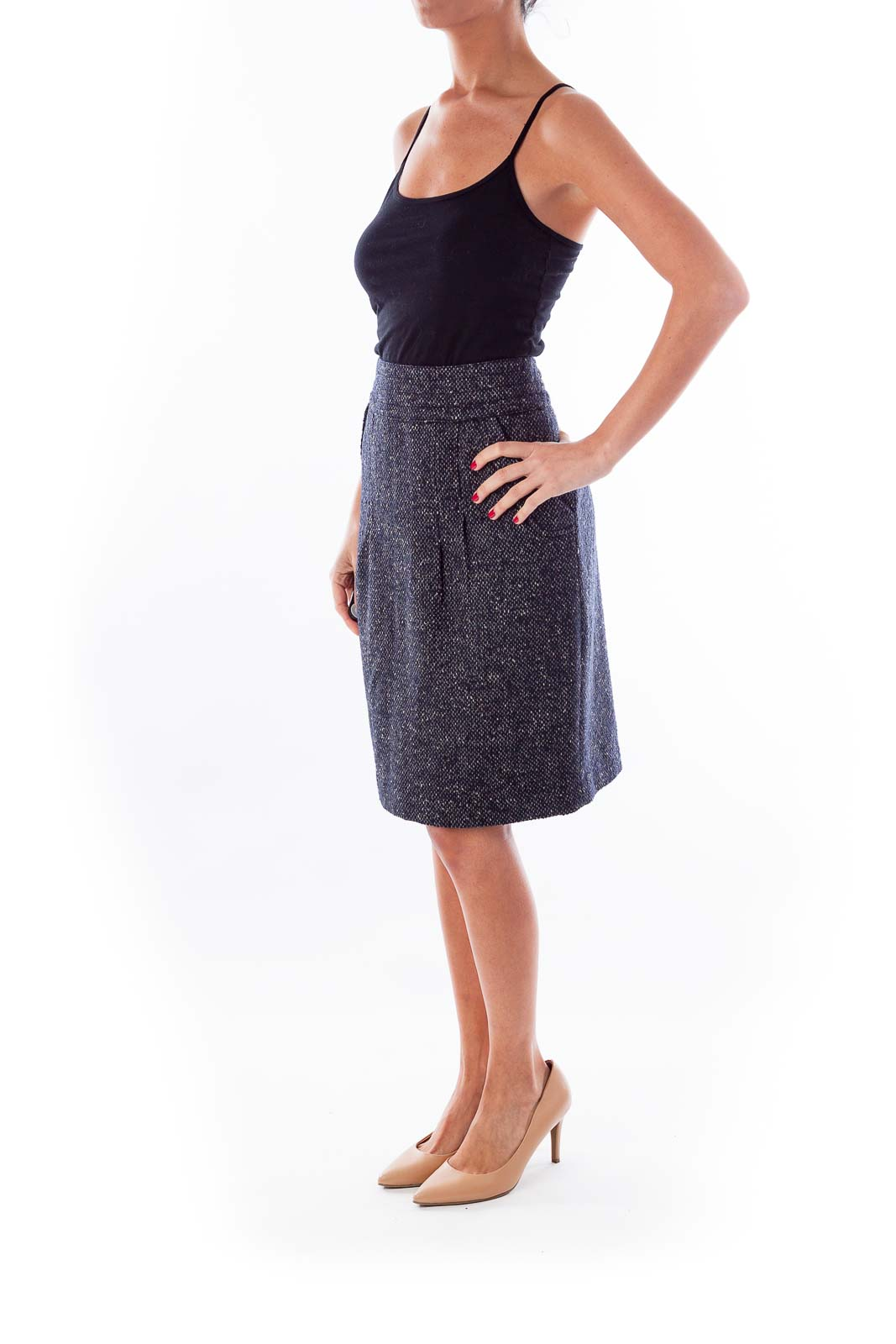 Black & White Tweed Pencil Skirt