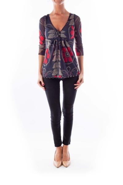 Gray & Red Flower Print Top