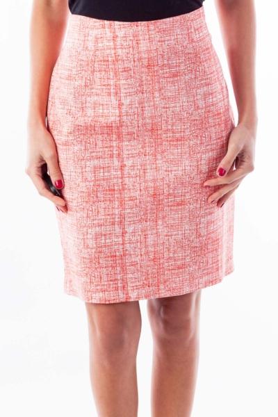 Red & White Print Pencil Skirt