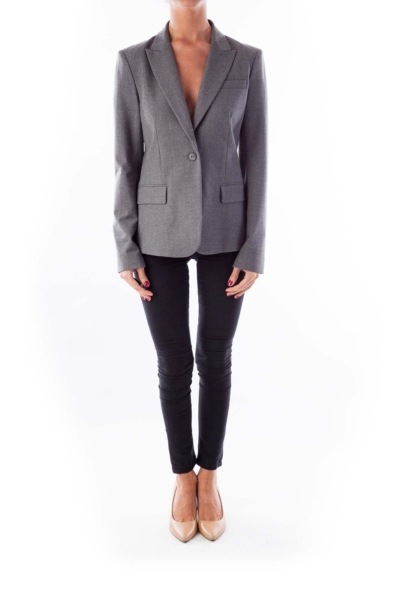 Gray Single Button Blazer