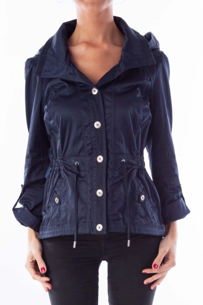 Navy Satin Hooded Jacket