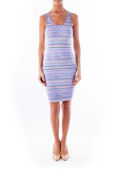 Purple & Blue Stripe Fitted Dress