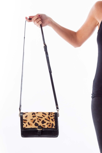 Animal Print Leather Cross Body Bag