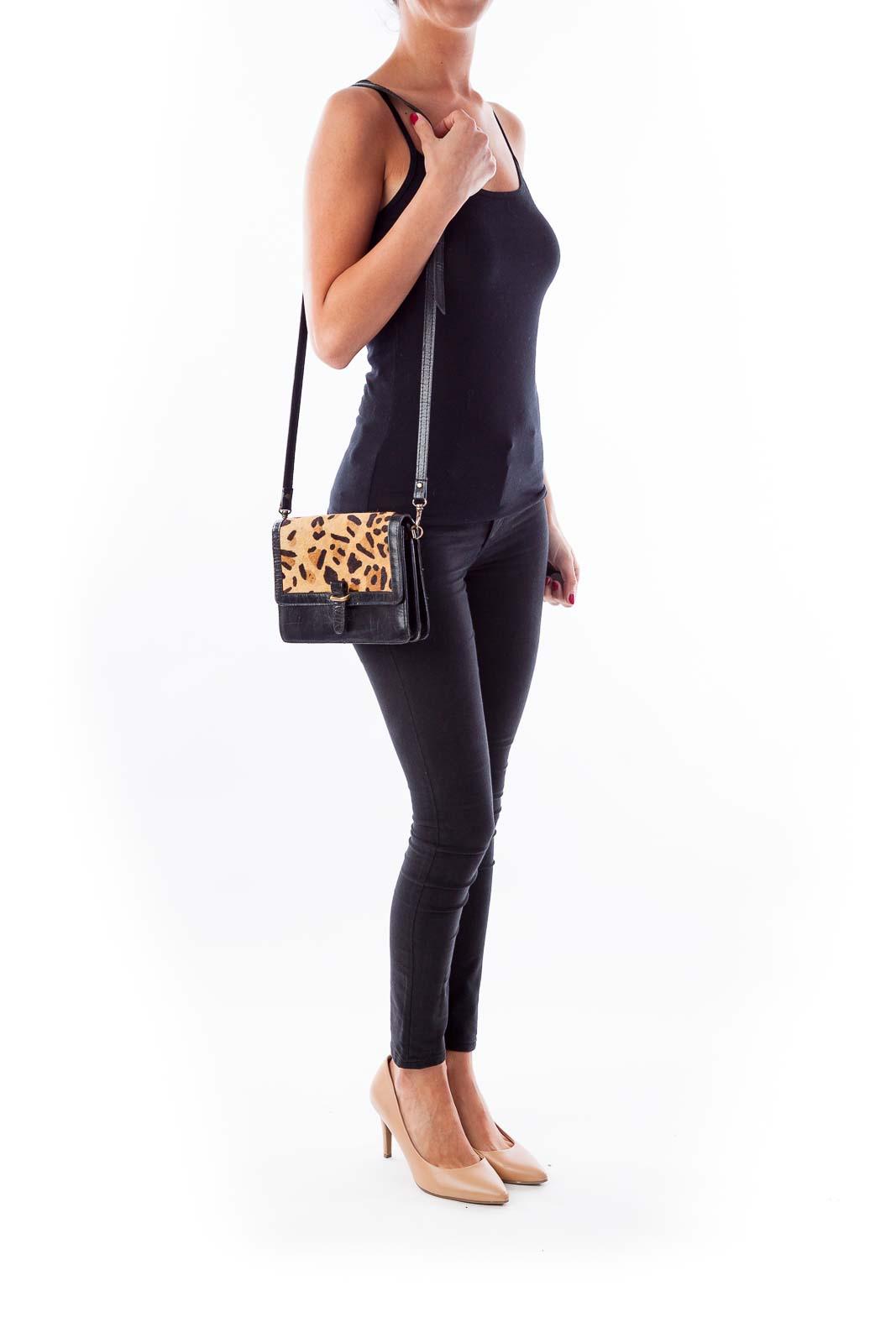 Animal Print Leather Cross Body Bag