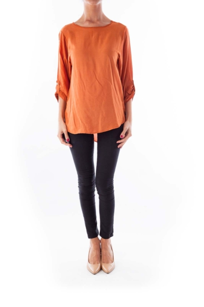 Orange Round Neck Blouse