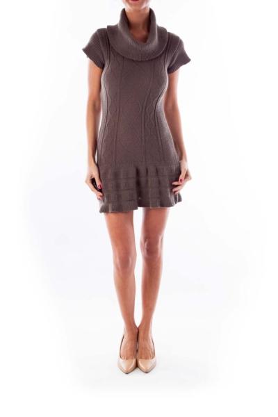 Gray Turtleneck Knit Dress