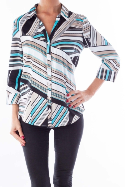 White Striped Button Up Shirt