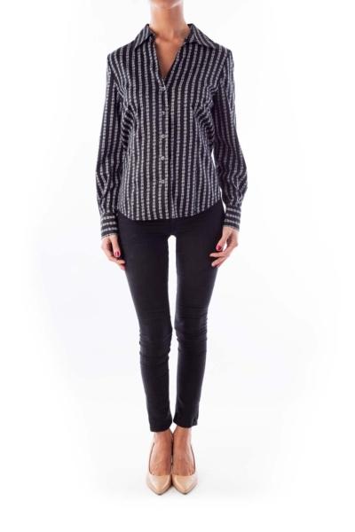 Black & White Geometric Print Shirt