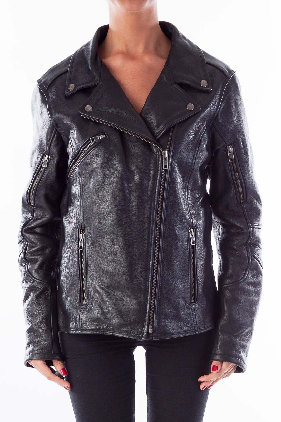Black Leather Biker Coat