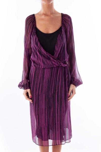 Purple & Black Striped Chiffon Dress