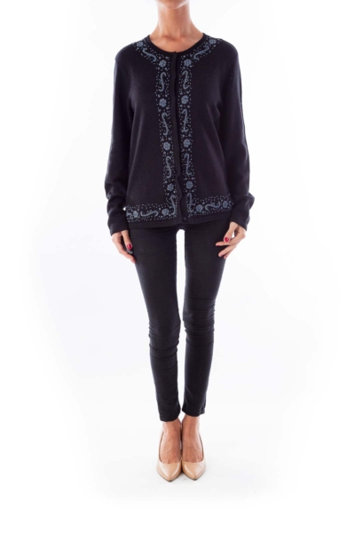 Black Beaded Knit Sweater