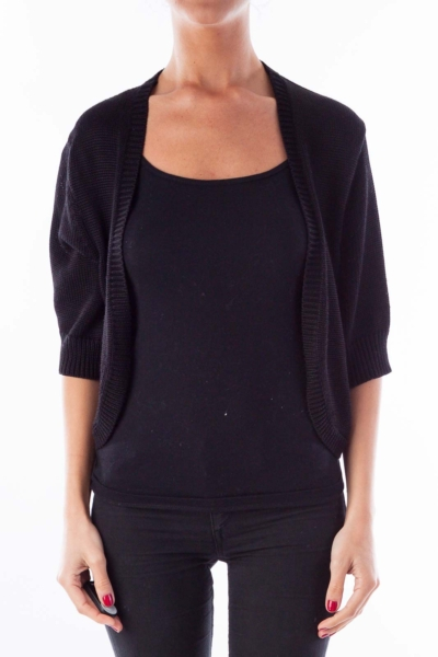 Black Cropped Knit Cardigan