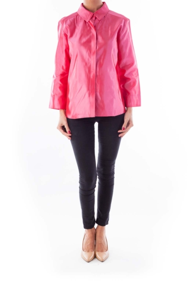 Pink Satin Button Shirt
