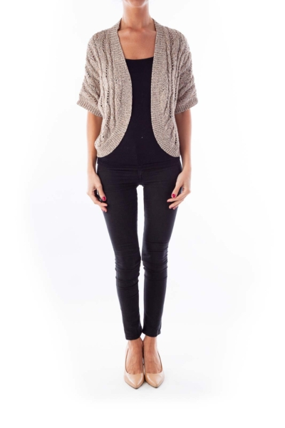 Beige Cropped Knit Metallic Cardigan