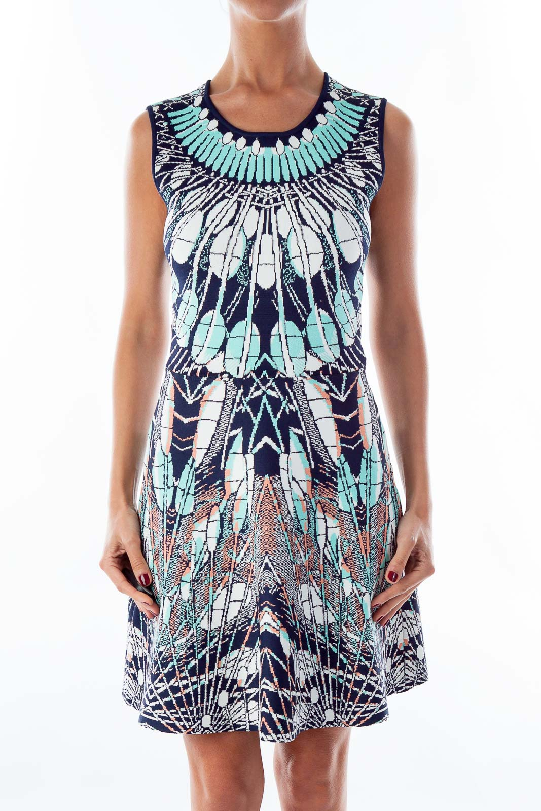 Turquoise & Navy A-Line Dress