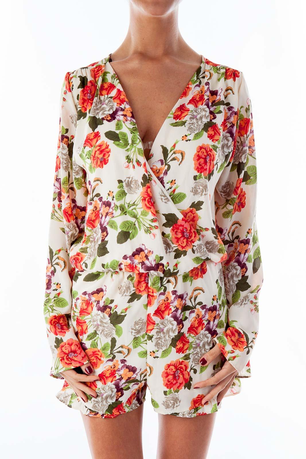 Floral Print Long Sleeve Romper