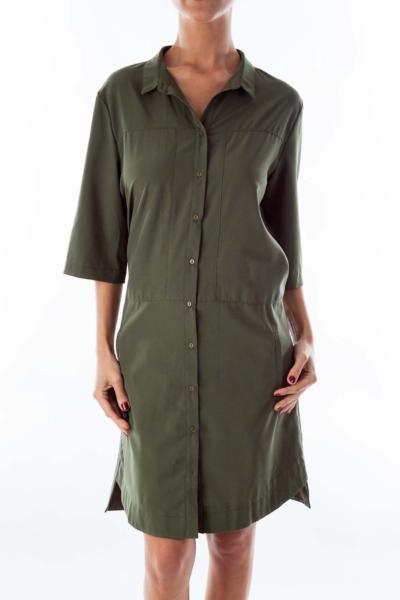 Army Green Button Down Dress