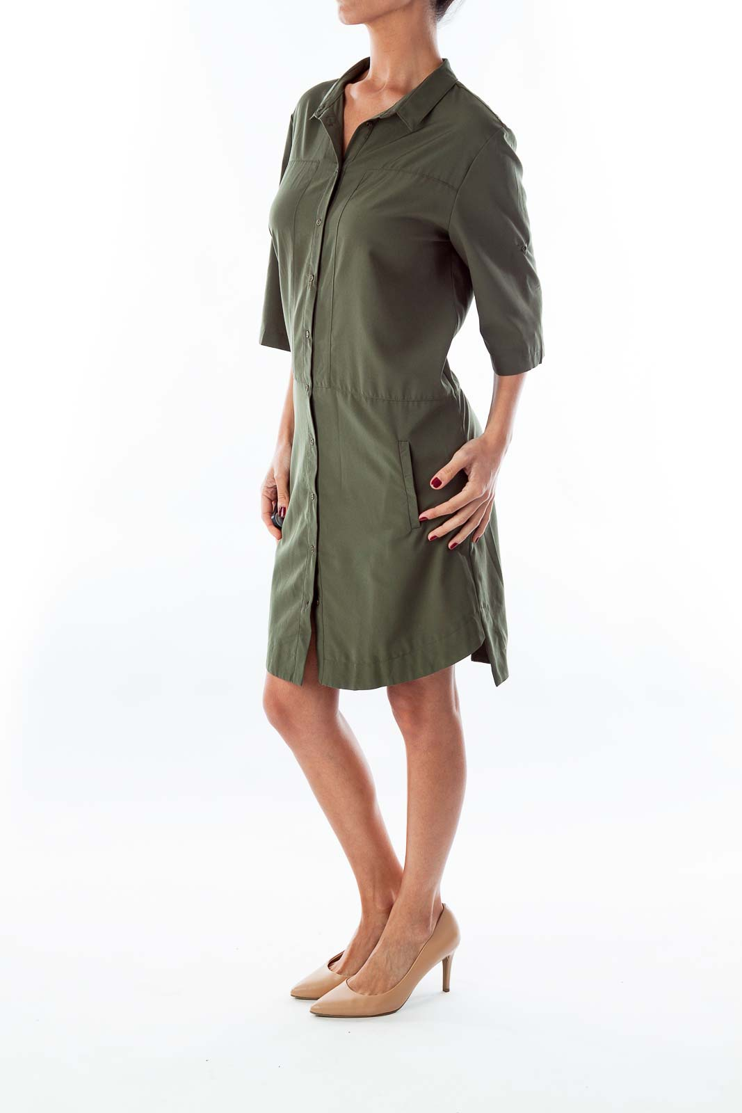 Army Green Button Down Dress
