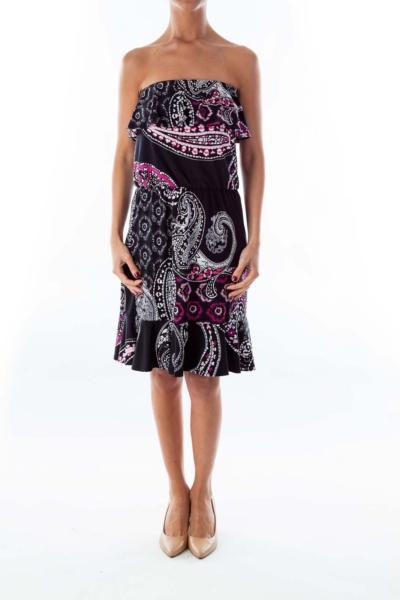 Black & White Strapless Paisley Dress