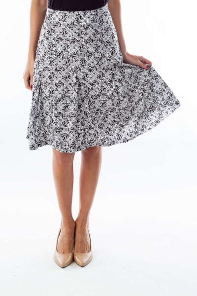 Black & White Print A-Line Skirt