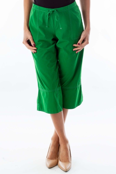 Green Drawstring Cropped Pants