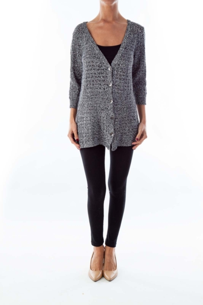 Black and White Knit Cardigan