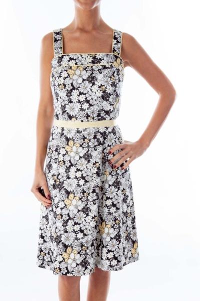 Black  White Yellow Flower Print Dress