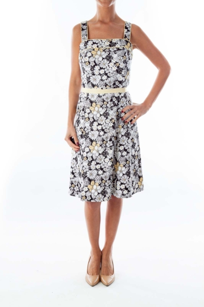 Black   White Floral Dress Black   White Floral Dress 9befe45476