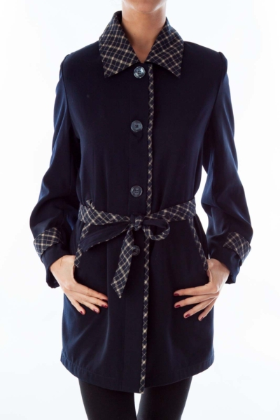 Navy & Plaid Trench Coat